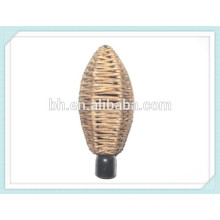 Rattan Finial Commercial Curtain Rods For Window Drapery Blind Rod
