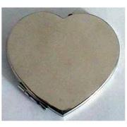 a forma di cuore inossidabile ferro specchio compatto