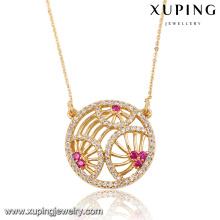 41799 bijoux fabriqués en chine vente en gros 18 k délicat grenat pierre zircon rond pendentif plaqué or bijoux collier