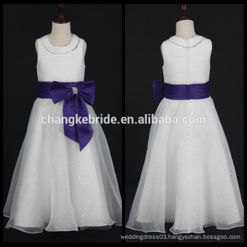First Communion Dresses For Girls Sleeveless Ball Gown Flower Girl Dress With Big Bow
