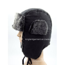 100% Polyester Artificial Fur Embroidered Ushanka Winter Hat with Ear Flap
