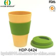 Caneca de viagem reutilizável de boa qualidade copo de fibra de bambu (HDP-0424)