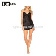 women sling bra Sexy Night dress short skirt black Satin Pajamas