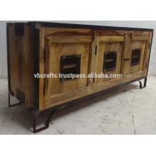 Urban Urban Loft Metal Wooden Cabinet Natural Finish