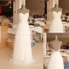 Vestido nupcial bohemio atractivo del vestido de boda de la playa de Boho del verano del cordón de las correas de espagueti Backless atractivas