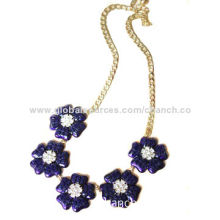 Stylish Necklace in Royal Blue Flower Pattern, Decorated with Rhinestones, with Customized Designs