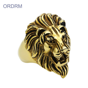 Aço inoxidável Punk Mens Gold Lion Head Ring