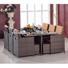 11pcs  outdoor PE rattan dining chair and table wicker dining sets