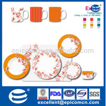 orange flower painting high quality porcelain dinnerware with coffee set and mugs