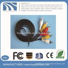 Alta calidad 3 RCA a 3 RCA Cable AV Oro plateado para DVD, TV, STB
