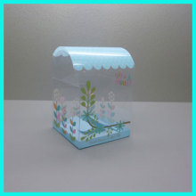 Best selling fashion new design custom disposable feature sky blue printed clear plastic wedding cake box