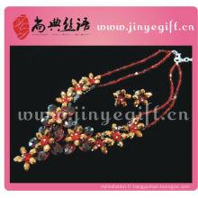 Chaîne à la mode de la fleur de pierre noire Ruby noire fabriquée à la main par Shangdian Bijoux