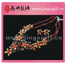 Shangdian Hand Crafted Ruby Black Stone Flower Trendy Chain Bijoux