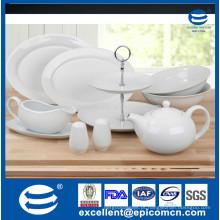 Porcelana branca de cerâmica 1200ml pote de chá, 2 tigelas bolo stand em porclain, prato de servir, sal e pimenta shaker