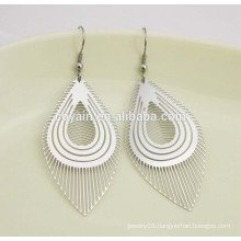 Personalized silver plant India long leaf dangle earring