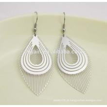 Planta de prata personalizada Índia folha longa brinco pendente