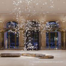 Design romantique moderne Éclairage de lustre en cristal de grand hôtel