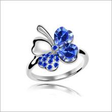 VAGULA vier – blättrige Kleeblatt Strass Mode Silber Ring