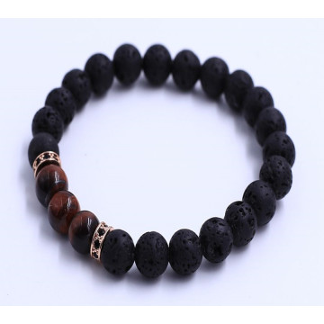 Red Tiger Eye Beads Lava Stones Bracelet