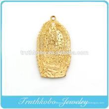 Haute qualité mode chrétien sous vide placage sur or en acier inoxydable san benito pendentif religieux vierge mary pendentif TKB-P048