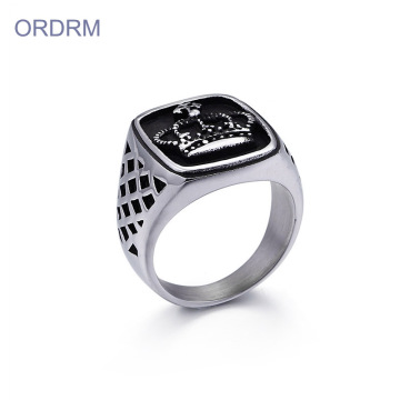 Mens King Crown Ring in acciaio inossidabile quadrato