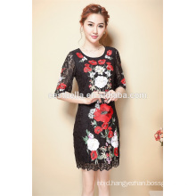 Wholesale Clothing New Fashion Elegant Dress 2016 round collar embroidery dress of woman clothing