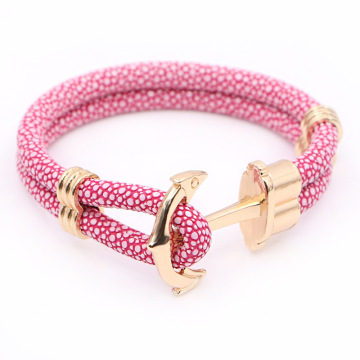 Ladies Design PU Leather Anchor Bracelet Untuk Wanita