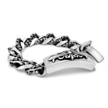 Braceletes de aço inoxidável da identificação dos homens da jóia preta de prata do corpo