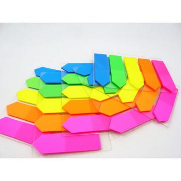 Nota pegajosa da cor brilhante fluorescente ajustada para a escola e o material de escritório
