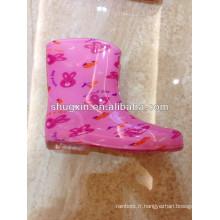 chaussures de pluie papillon rouge enfants pvc