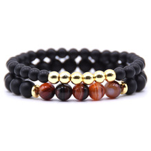 Black Onyx Matte Bracelet 8mm Beads Natural Stone