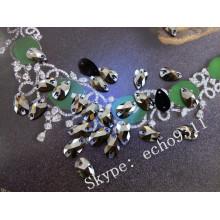 7*12mm Sew on Jet Black Stones Ab Crystal Garment Stones