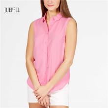 Camisa sem mangas de algodão rosa para mulher