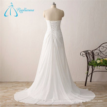 A-Line Chiffon Pleat Crystal Wedding Dress 2017