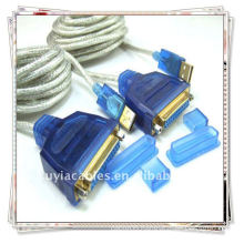 Transparent white USB 1284 printer cable,USB TO PARALLEL 1284 DB FEMALE PRINTER CABLE ADAPTER