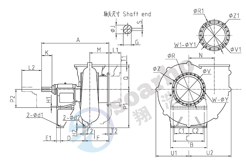 Desulfrizing Slurry-cirling Pumps outline drawing-s