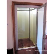 Стеклянный бытовой лифт с ручной дверью