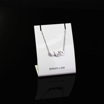 APEX Luxury Acrylic Jewelry Display Card White Necklace Holder Display Stand