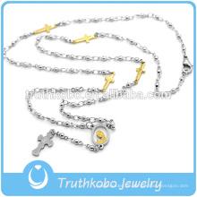 Großhandelsart- und weiseEdelstahl gesegnete Rosenkranzperlen getragen als religiöse Kreuz-Halsketten-Produkte