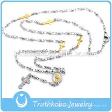 Atacado de Moda de Aço Inoxidável Rosário Abençoado Beads Usados Como Produtos de Colar Cruz Religiosa