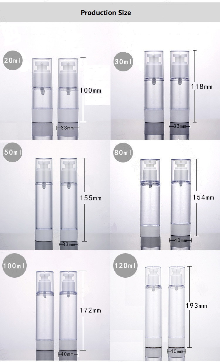 AS cosmetic packaging transparent cosmetic airless bottle