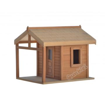 Assembled dollhouse room box in wooden