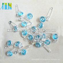 clip de papel transparente al por mayor de las cuentas de cristal del ojo de pavo azul claro