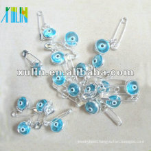 wholesale transparent light blue turkey eye glass beads paper clip