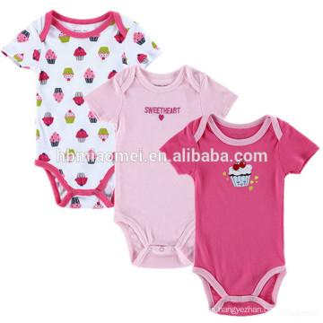 2017 Summer Newborn Bodysuit Toddler Girls Color Printing Rompers Clothes Baby Girl Pom Pom Romper