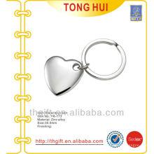 Blank 3D heart shape pendant metal keyrings