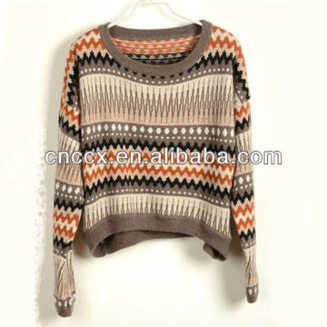 13STC5211 jacquard modèle court tricots chandails pour noël