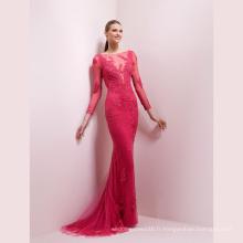 Robe de soirée en dentelle rose à sequins et sirène