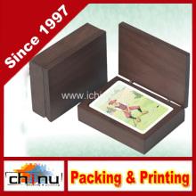 24k Cartes à jouer en or en boîte en bois de haute classe (430025)