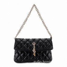 Leather Handbag with Flap Closure and Single Shoulder Strap